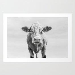 Animal Photography | Cow Portrait Minimalism | Farm animals | black and white Art Print