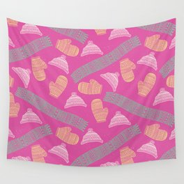 Winter Mitten, Hat, and Scarf Pattern Wall Tapestry