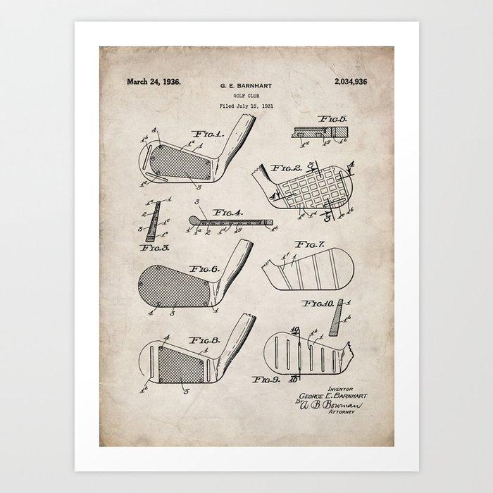Golf Clubs Patent - Golfing Art - Antique Kunstdrucke