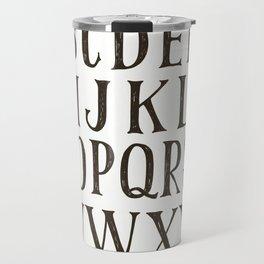 Alphabet A-Z Black and White Travel Mug