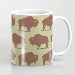 Buffalo Bison Pattern Brown and Chartreuse Coffee Mug