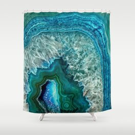 Aqua turquoise agate mineral gem stone Shower Curtain