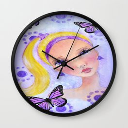 Whimiscal Girl with Pony Tail Wall Clock