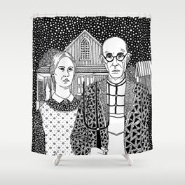 American Gothic. Grant Wood Shower Curtain