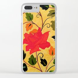Bright red rose Clear iPhone Case