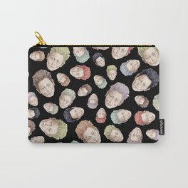 Tilda Heads on Black | Hair Pattern Carry-All Pouch