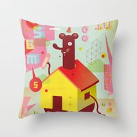 the neighbourhood Throw Pillows featuring Benny's Lunch Simulation by Sauerkids