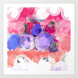 Flower Power in Pink, Purple, Peach and White Art Print
