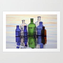 Beach Bottles Art Print