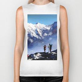 Panoramic View Of Ama Dablam Peak Everest Mountain Biker Tank