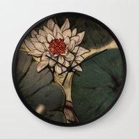 lotus Wall Clocks featuring Lotus by Corinne Reid