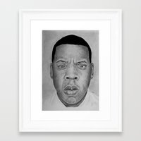 jay z Framed Art Prints featuring Jay-z by pat langton