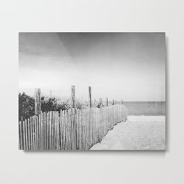 Black and White Beach Photography, Grey Coastal Photo, Neutral Beach Fence Photograph Metal Print