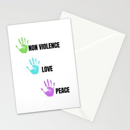 Colorful Non Violence Peace and Love Stationery Cards