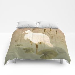 White Heron in Bulrushes Comforters