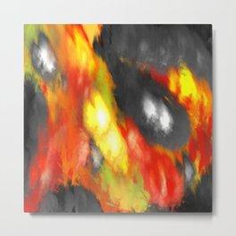 Black Red Yellow White Bold Bokeh Cool Pop Art Abstract Metal Print