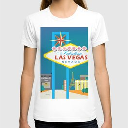 Las Vegas, Nevada - Skyline Illustration by Loose Petals T-shirt