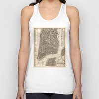new york map Tank Tops featuring New York Map by Le petit Archiviste
