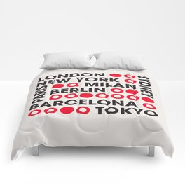 I Love This City Typography Comforters