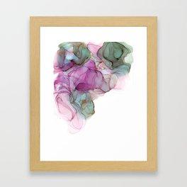 Raspberry & Slate Alcohol Ink Painting Framed Art Print