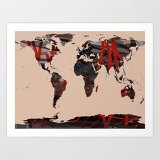 World Map Erotic Red Art Print