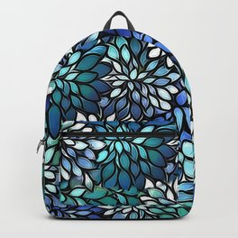 Stain Glass Floral Abstract - Blue-Green Backpack
