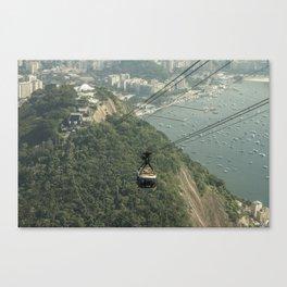 Sugarloaf Rock Cable Car At Rio De Janeiro Brazil Canvas Print