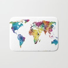 Geometric World Map Bath Mat