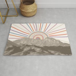 Bohemian Tribal Sun / Abstract Vintage Mountain Happy Summer Vibes Retro Colorful Pastel Sky Artwork Rug