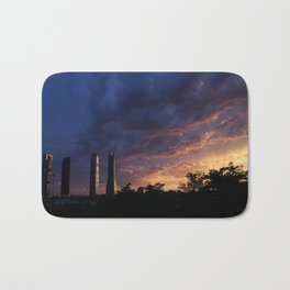 Sunset over Cuatro Torres, Madrid Bath Mat