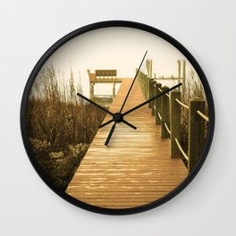 A Foggy Morning on the Dock Wall Clock