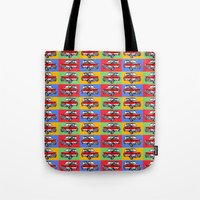 mini cooper Tote Bags featuring mini cooper by Pedro Vale