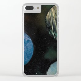 Loads of Planets - Spacescape - Spray Paint Art Clear iPhone Case