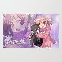 madoka Area & Throw Rugs featuring Madoka Kaname in Winter Dress by Neo Crystal Tokyo