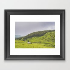 Countryside house & hill Framed Art Print