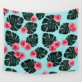 Tropical pattern n.1 - pale blue Wall Tapestry
