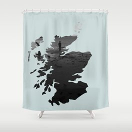 'Wandering' Scotland map Shower Curtain