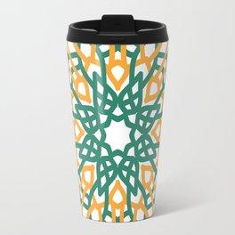 Mandala Flowers (green and yellow) Travel Mug