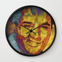 elvis presley Wall Clocks featuring Elvis Presley by Pedro Nogueira