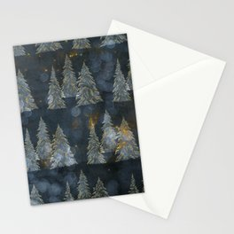 Fairy Pine Trees Golden Winter Christmas Lights Gold And Indigo Blue Landscape Decor Stationery Cards