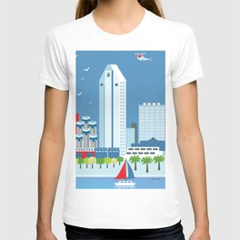 San Diego, California - Skyline Illustration by Loose Petals T-shirt