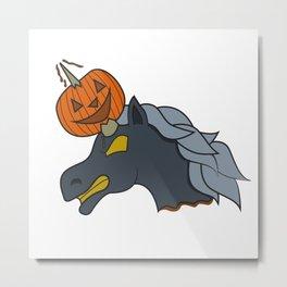 Unicorn pumpkin halloween skewer kids creepy monster zombie gift idea Metal Print