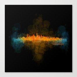 Vancouver Canada City Skyline Hq v04 dark Canvas Print