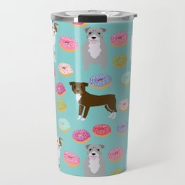 Pitbull dog breed donuts doughnut dog art pibble dog lover rescue pupper Travel Mug