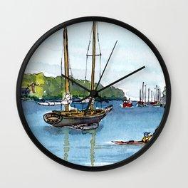 Wooden Sailboat Kayak on the Northwest Arm, Halifax, NS Wall Clock