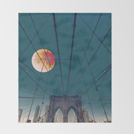 Blood Moon over the Brooklyn Bridge and New York City Throw Blanket