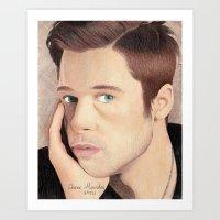 brad pitt Art Prints featuring Brad Pitt by Jude's Art