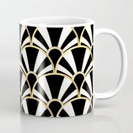 Black, White and Gold Classic Art Deco Fan Pattern Coffee Mug