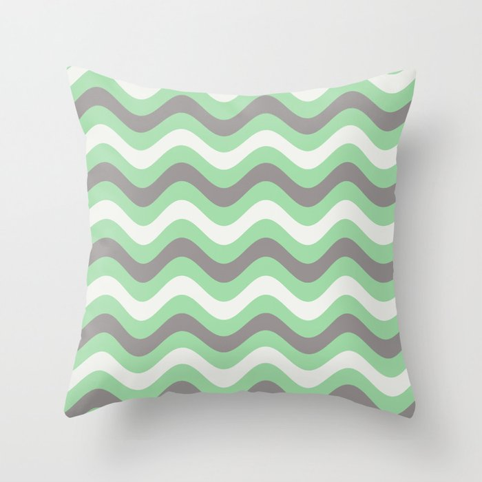 Pastel Green, Gray & Linen White Stripes Wavy Stripes Pairs to 2020 Color of the Year Neo Mint Throw Pillow