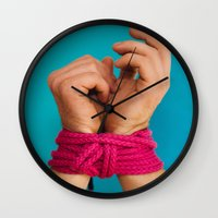 bondage Wall Clocks featuring Bondage Heart Hands by Mel Had Tea